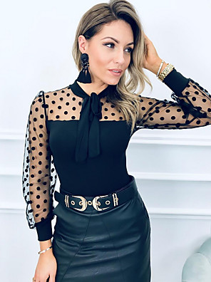 cheap Women's Blouses & Shirts-Women's Blouse Polka Dot Tops Black / Long Sleeve / Going out