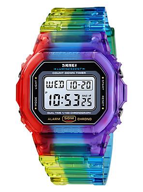 cheap Quartz Watches-SKMEI Women's Digital Watch Digital Modern Style Sporty Outdoor Alarm Silicone Blue / Orange / Purple Digital - Blue Purple Orange One Year Battery Life / Calendar / date / day / Chronograph