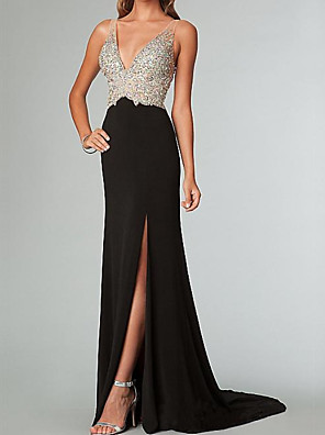 cheap Evening Dresses-Sheath / Column Color Block Sparkle Engagement Formal Evening Dress V Neck Sleeveless Sweep / Brush Train Spandex with Crystals Split 2020
