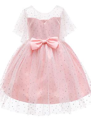 cheap Girls' Dresses-Kids Toddler Girls' Basic Cute Solid Colored Short Sleeve Knee-length Dress Blue