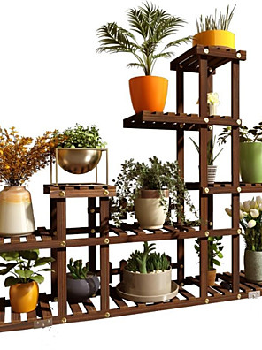 cheap Hand Tools-Solid wood mobile put meaty shelves living room garden balcony rack floor small apartment multi-layer space saving