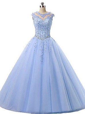 cheap Prom Dresses-Ball Gown Elegant Sparkle Engagement Prom Dress Illusion Neck Sleeveless Floor Length Organza with Pleats Crystals Appliques 2020