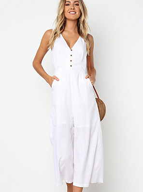 cheap Women's Skirts-Women's Khaki White Black Jumpsuit Onesie, Solid Colored S M L