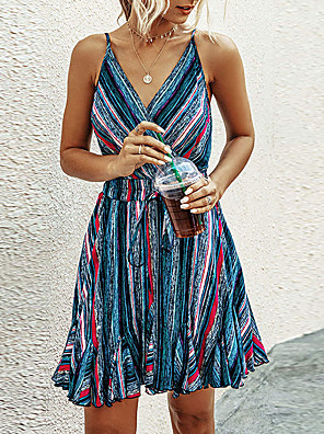 cheap Mini Dresses-Women's A-Line Dress - Short Sleeves Striped Summer Street chic 2020 Blue Orange S M L XL