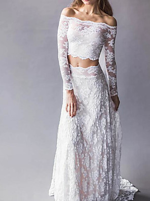 cheap Wedding Dresses-Two Piece Wedding Dresses Off Shoulder Sweep / Brush Train Lace Long Sleeve Beach Boho Sexy See-Through with Embroidery 2020