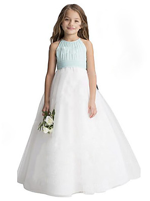 cheap Flower Girl Dresses-A-Line Floor Length Wedding / Party Flower Girl Dresses - Chiffon / Tulle Sleeveless Jewel Neck with Ruffles
