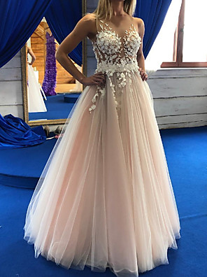 cheap Wedding Dresses-A-Line Wedding Dresses Jewel Neck Floor Length Lace Tulle Sleeveless Sexy Wedding Dress in Color See-Through with Appliques 2020