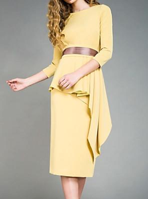 cheap Prom Dresses-Sheath / Column Mother of the Bride Dress Elegant Jewel Neck Tea Length Satin 3/4 Length Sleeve with Sash / Ribbon Pleats Appliques 2020