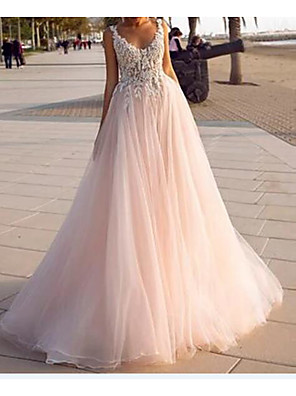 cheap Wedding Dresses-A-Line Wedding Dresses V Neck Court Train Lace Tulle Sleeveless Country Beach Sexy Wedding Dress in Color with Embroidery 2020
