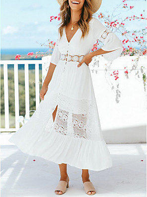 cheap Prom Dresses-Women's A Line Dress - Half Sleeve Solid Color Spring & Summer V Neck 2020 White S M L XL