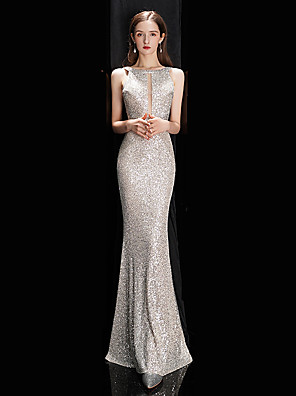 cheap Prom Dresses-Mermaid / Trumpet Sexy Sparkle Engagement Prom Dress Jewel Neck Sleeveless Floor Length Sequined with Sequin 2020