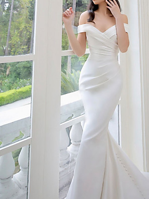 cheap Wedding Dresses-Sheath / Column Wedding Dresses V Neck Chapel Train Stretch Satin Sleeveless Sexy Wedding Dress in Color with Bow(s) Appliques 2020