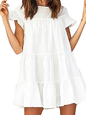 cheap Mini Dresses-Women's A Line Dress - Short Sleeves Solid Color Summer Elegant 2020 White Yellow Light Blue S M L XL XXL XXXL