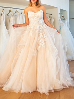 cheap Wedding Dresses-Ball Gown Wedding Dresses Strapless Sweep / Brush Train Lace Tulle Sleeveless Formal Plus Size with Embroidery Cascading Ruffles 2020