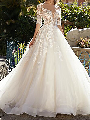 cheap Evening Dresses-Ball Gown Wedding Dresses Jewel Neck Sweep / Brush Train Lace Tulle Half Sleeve Formal Sexy See-Through with Embroidery 2020
