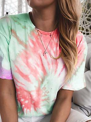cheap Women's T-shirts-Women's Daily T-shirt - Solid Colored Shirt Collar Black