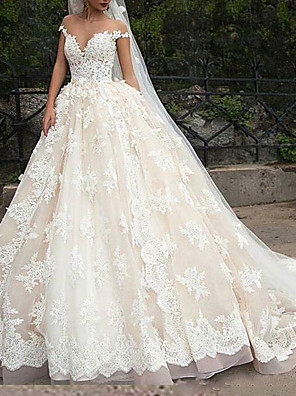 cheap Wedding Dresses-Ball Gown Wedding Dresses Off Shoulder Court Train Polyester Cap Sleeve Country Plus Size with Lace Insert Appliques 2020