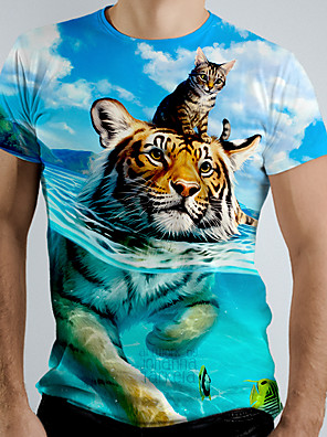 cheap Men's Tees-Men's Tee T shirt Shirt 3D Print Graphic Tiger Animal Short Sleeve Causal Tops Basic Elegant White Blue Navy Blue