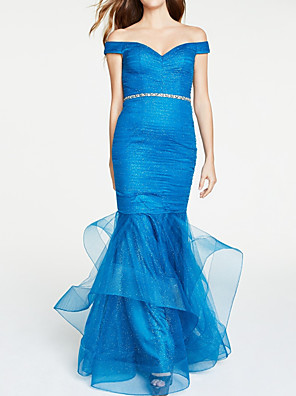 cheap Evening Dresses-Mermaid / Trumpet Elegant Blue Party Wear Formal Evening Dress Off Shoulder Short Sleeve Floor Length Satin Tulle with Sash / Ribbon Tier 2020