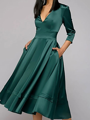 cheap Cocktail Dresses-A-Line Mother of the Bride Dress Elegant V Neck Tea Length Satin 3/4 Length Sleeve with Pleats 2020