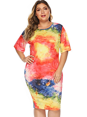 cheap Plus Size Dresses-Women's Sheath Dress Knee Length Dress - Short Sleeves Tie Dye Summer Casual 2020 Orange XL XXL XXXL XXXXL