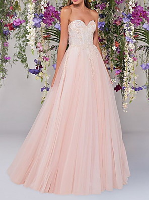 cheap Wedding Dresses-A-Line Wedding Dresses Strapless Floor Length Lace Tulle Sleeveless Country Wedding Dress in Color with Embroidery Appliques 2020