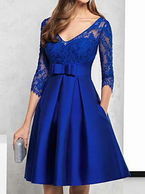 cheap Prom Dresses-A-Line Floral Engagement Prom Dress Illusion Neck V Neck 3/4 Length Sleeve Knee Length Lace Satin with Sash / Ribbon Pleats Embroidery 2020