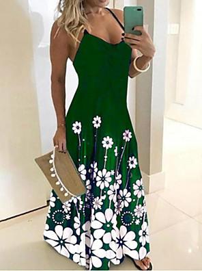 cheap Maxi Dresses-Women's Sundress Dress - Sleeveless Print Summer Boho Sexy Holiday Going out 2020 Black Blue Purple Green S M L XL XXL XXXL XXXXXL
