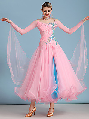 cheap Prom Dresses-Ballroom Dance Dress Embroidery Split Joint Crystals / Rhinestones Women's Training Performance Long Sleeve Organza Spandex