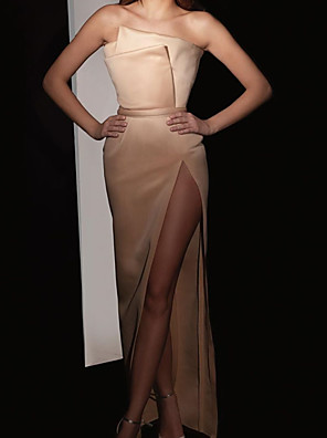 cheap Evening Dresses-Sheath / Column Elegant Minimalist Engagement Formal Evening Dress Strapless Sleeveless Floor Length Satin with Split 2020