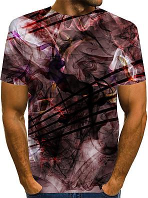 baratos Calças e Shorts Masculinos-Homens Tamanhos Grandes Camiseta Geométrica Estampado Manga Curta Blusas Básico Moda de Rua Decote Redondo Vermelho