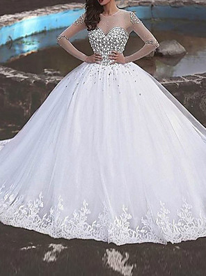 cheap Wedding Dresses-Ball Gown Wedding Dresses Jewel Neck Sweep / Brush Train Polyester Long Sleeve Country Plus Size with Beading Lace Insert Appliques 2020