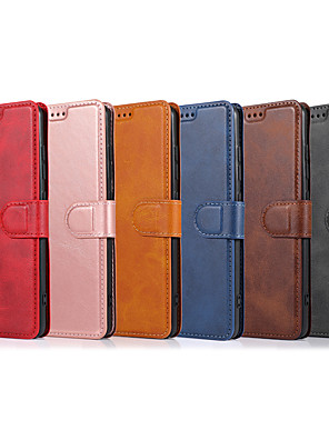 cheap Samsung Case-Case For Samsung Galaxy S20/S20 Plus/S20 Ultra/S10/S10E/S10 Plus/S10 5G/S9/S9 Plus/Note 10/Note 10 Plus/A90/A51/A71/A01  Card Holder / Shockproof / Flip Full Body Cases Solid Colored PU Leather / TPU