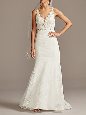 cheap Wedding Dresses-Mermaid / Trumpet Wedding Dresses V Neck Sweep / Brush Train Lace Tulle Sleeveless Romantic with Appliques 2020