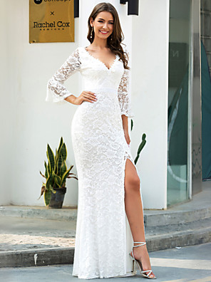 cheap Wedding Dresses-Mermaid / Trumpet Wedding Dresses V Neck Sweep / Brush Train Lace Long Sleeve Romantic Simple Illusion Sleeve with Split Front 2020