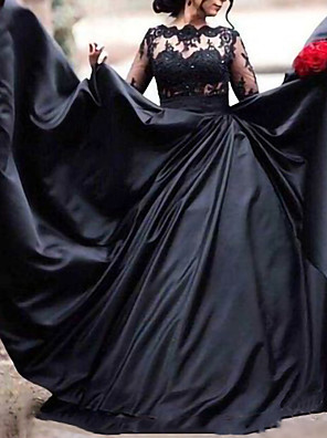 cheap Wedding Dresses-A-Line Wedding Dresses Scoop Neck Sweep / Brush Train Lace Stretch Satin Long Sleeve Formal Black Modern with Appliques 2020