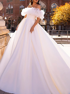 cheap Wedding Dresses-Ball Gown Wedding Dresses Off Shoulder Sweep / Brush Train Satin Tulle Short Sleeve Formal with Ruffles 2020