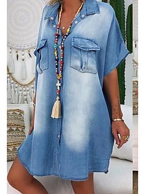 cheap Maxi Dresses-Women's Denim Shirt Dress Knee Length Dress - Short Sleeves Summer V Neck Casual 2020 Blue Dusty Blue Gray Light Blue S M L XL XXL XXXL