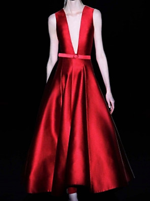 cheap Prom Dresses-A-Line Elegant Wedding Guest Prom Dress V Neck Sleeveless Ankle Length Satin with Sash / Ribbon Pleats 2020