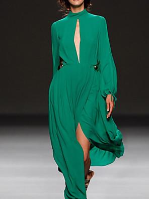cheap Prom Dresses-A-Line Elegant Party Wear Prom Dress High Neck Long Sleeve Floor Length Chiffon with Pleats Split 2020