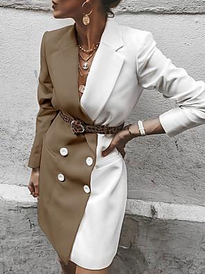 cheap Maxi Dresses-Women's Daily Long Coat, Color Block Notch Lapel Long Sleeve Polyester Red / Khaki / Black