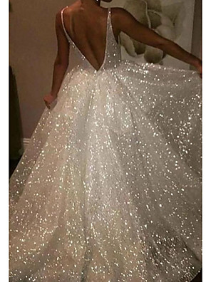 cheap Prom Dresses-A-Line Wedding Dresses V Neck Sweep / Brush Train Tulle Sequined Sleeveless Sexy Sparkle & Shine with 2020