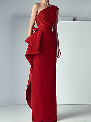 cheap Evening Dresses-Sheath / Column Elegant Red Engagement Formal Evening Dress One Shoulder Sleeveless Floor Length Satin with Bow(s) Ruched 2020