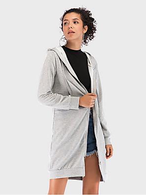 Недорогие Женские футболки-Жен. Пальто Длинная Однотонный Повседневные Серый S / M / L
