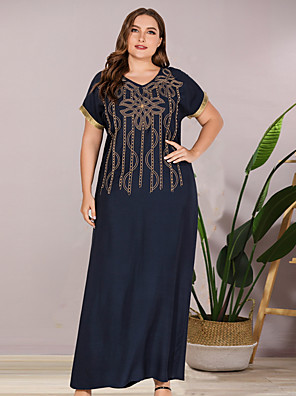 cheap Romantic Lace Dresses-Women's A-Line Dress Maxi long Dress - Short Sleeves Print Summer Casual Mumu 2020 Blue L XL XXL XXXL