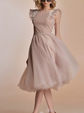 cheap Homecoming Dresses-A-Line Flirty Minimalist Holiday Cocktail Party Dress Jewel Neck Sleeveless Knee Length Tulle with Pleats Embroidery 2020
