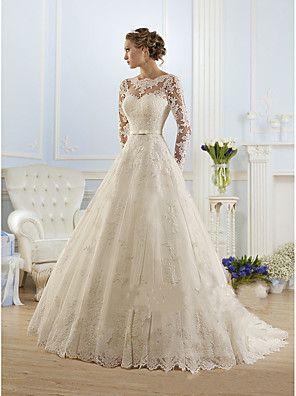 cheap Wedding Dresses-A-Line Wedding Dresses Jewel Neck Court Train Lace Tulle Long Sleeve Formal Sexy with Appliques 2020