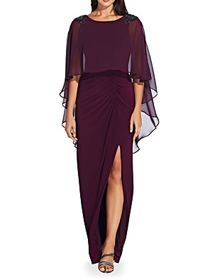 cheap Mother of the Bride Dresses-Sheath / Column Mother of the Bride Dress Elegant Jewel Neck Floor Length Chiffon Half Sleeve with Split Front Ruching 2020