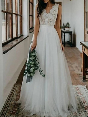 cheap Wedding Dresses-A-Line Wedding Dresses V Neck Sweep / Brush Train Lace Tulle Sleeveless Beach Boho Sexy with Embroidery 2020
