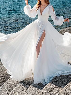 cheap Wedding Dresses-A-Line Wedding Dresses V Neck Sweep / Brush Train Chiffon Over Satin Long Sleeve Simple Beach Sexy See-Through with Split Front 2020